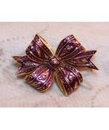 Joan Rivers Holiday Bow Brooch Pin Enamel Rhinestone Crystal Burgandy Pu... - $69.28