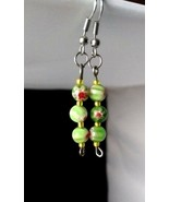 Handmade Green Millefiori Glass Dangle Earrings - New - $8.99