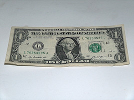 2013 $1 Dollar Bill US Note 35 + 35 Equals 70 70353535 Fancy Serial Number - $12.09