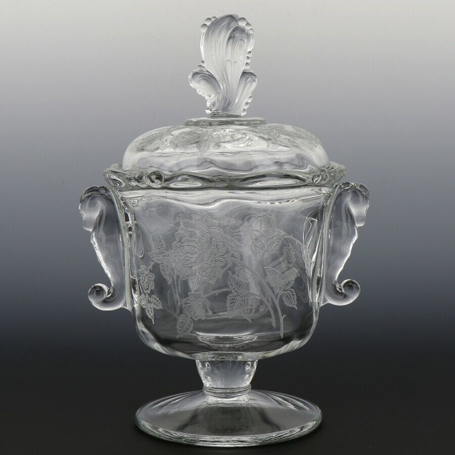 Heisey Rose High Footed Candy with Seahorse Handles and Plume Finial