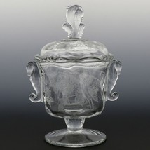 Heisey Rose High Footed Candy with Seahorse Handles and Plume Finial - $59.96