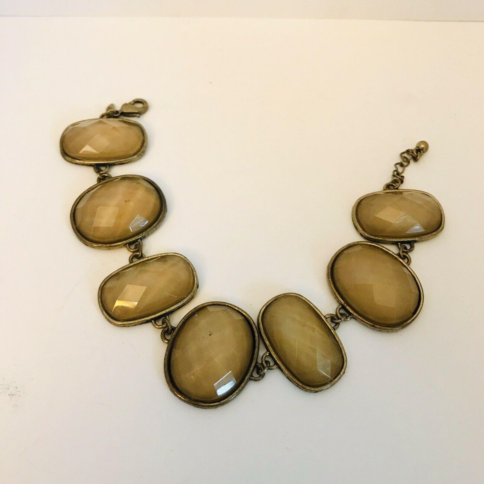 Vintage Avon SH Bronze Tone Faceted Stone Link Bracelet J0725 image 3