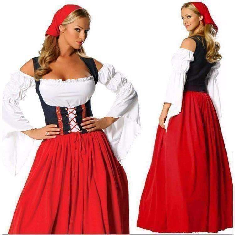 Dress for less halloween customes bavaria beer maid costume women fancy long dress 1424034660383