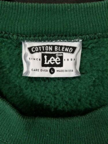Lee Size Large Cotton Blend Ugly Christmas Green Seasons Greeting Sweatshirt image 3