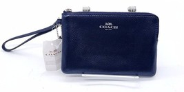 COACH  Navy Blue Leather Silver Hardware Accent... - $55.00