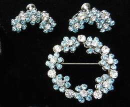 vintage Demi Parure flower brooch earrings set powder blue clear rhinest... - $65.00