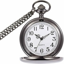 Classic Smooth Vintage Pocket Watch, Steel Men Pocket Watch with 14''Cha... - $22.99