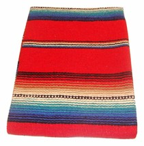 #776 Red Serape Falsa Blanket Classic Mexican Yoga Mat Pattern Colors Be... - $24.90