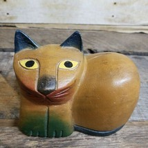 Vintage Cat Figure Carved Wood Kitten Mod Folk Art Sculpture Carving Decor - $33.85