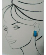 VINTAGE CLIP EARRINGS TURQUOISE RECTANGLES WITH GOLDTONE BANDS - $20.00