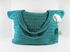The Sak NWT Tote Palm Springs Teal Green Crochet Large Tassels Zip Closu... - $76.94