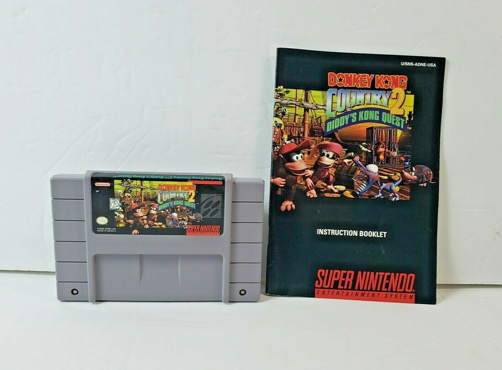 Donkey Kong Country 2: Diddy's Kong Quest (Super Nintendo SNES, 1995) w/ Manual