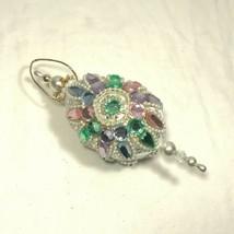 Vintage 60s/70s Satin Pink Purple Blue Pearl Beaded Christmas Ornament Oval - $27.55