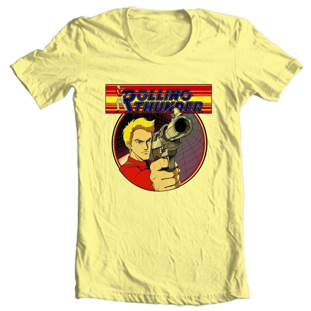Rolling thunder t shirt retro 1980 s arcade video game vintage graphic yellow tee