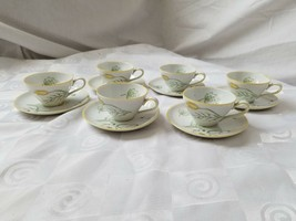 KPM Germany Demitasse Cups and Saucers Hand Painted Rose Leaves Set of 6 Vintage - $37.95