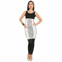 Ira Soleil black white polyester knitted stretchable aztec print sleevle... - $49.99