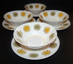 4 Mikasa La Jolla Dessert Fruit Bowls Under Plate Green Yellow Flowers 2... - $39.59