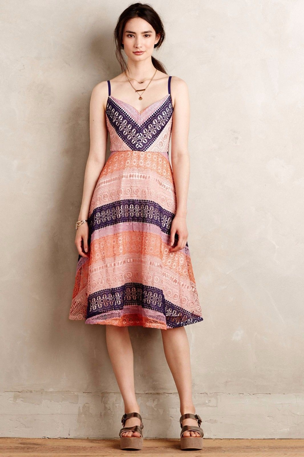 NWT ANTHROPOLOGIE SUMMER COTTAGE LACE DRESS by MAEVE 4P