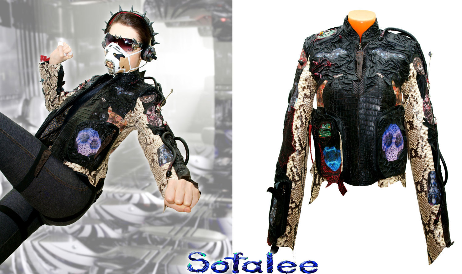 Exclusive womens jacket genuine crocodile python snake skin, Handmade Cyberpunk