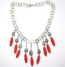 Halskette Silber 925, Koralle, Perlen Grau Handbemalte, Wasserfall, Anhänger image 2