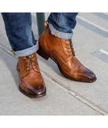 Handmade Men Tan brown wing tip brogue ankle high lace up boots, Men ank... - $179.99