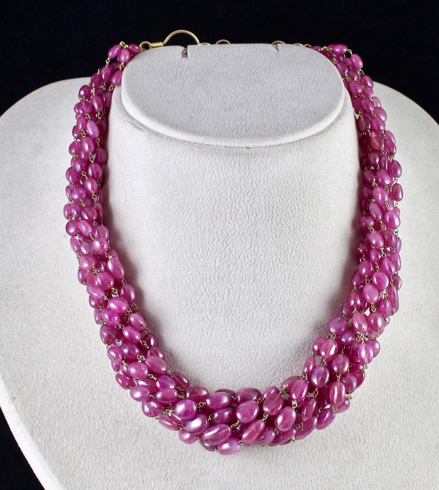 PINK RUBY BEADS CABOCHON 9 LINE 780 CARATS GEMSTONE 18K GOLD LADIES NECKLACE image 2