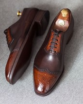 Handmade Men's Chocolate Brown Wing Tip Brogues Lace Up Oxford Leather Shoes image 4