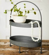 Farmhouse TWO-TIER METAL TRAY Country Rustic Caddy Stand Organizer Holde... - $52.99