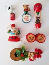 Vtg Musical Instruments Dad Red Christmas Ornaments Lot of 7 Lustre Ware... - $9.98