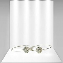 Women's Hoop Earrings Large Gold Tone With Crystal Ball - $17.50