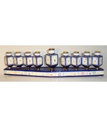 Jacob Rosenthal 2004 Chanukah Hanukkah Menorah ceramic candle holder blu... - $37.77