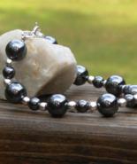 Hematite and Silver Bead Bracelet - $25.00