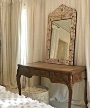 NEW Horchow Anthrologie Brown  Black French Moroccan Bone Inlay Mirror Stunning! - $683.00