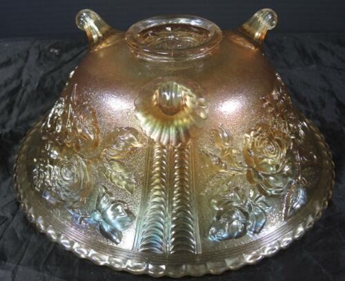 Vintage Imperial Marigold Carnival Glass Open Rose Footed Bowl