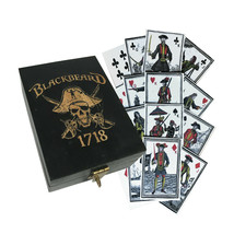 Blackbeard Pirate Theme Wood Box with Playing Cards Vintage Antique Style - $25.69