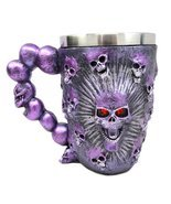 Atlantic Collectibles Ossuary Metallic Purple Protruding Skull With Bloo... - $375,66 MXN
