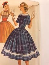 Vintage Simplicity Pattern Dress 1950's Bow Shift Full Skirt Rockabilly ... - $19.99