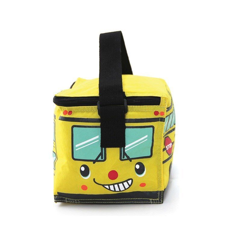 Yellow School Bus Insulated Nylon Lunch Bag Zips Closed Black Strap 8' x6' x6.5""