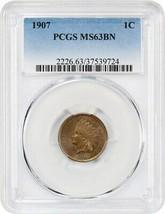 1907 1c PCGS MS63 BN - Indian Cent - $77.60