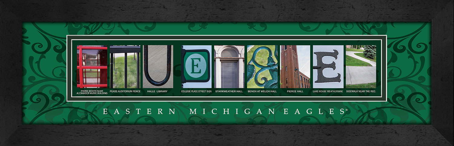 Primary image for Eastern Michigan Eagles Officially Licensed Framed Campus Letter Art
