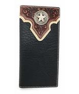 Western Tooled Genuine Leather Star Men's Long Bifold Wallet (Black) - $18.76