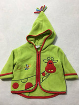 Hanna Andersson 70 12 Months Green Red Fleece Tassel Hood Jacket Giraffe... - $16.99