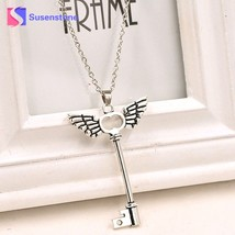 susenstone Angel wings Key Friendship Pendant Chain Silver Necklace 2018 Fashion - $7.81