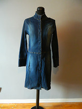 Vintage Jean Jacket Motorcycle Collar Long Knee Length Size Small - Medium - $56.81