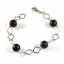 SILVER 925 BRACELET WITH SHUNGITE BLACK ROUND DIAMETER 10 MM LONG 20 CM - $39.28