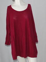 Sonoma Sweater Womens Plus 2X Dark Rose Pink 3/4 Sleeves Lightweight Long Tunic - $14.80