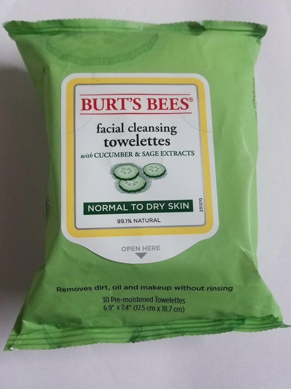 Burt's Bees Facial Cleansing Towelettes Cucumber Grapefruit White Tea Cotton x4