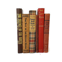 Vintage Book Lot 6 Stack Red Brown Antique Farmhouse Wedding Decor Decor... - $42.52