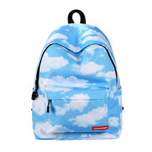 large capacity lady creative fashion white cloud pattern waterproof shou... - $28.00