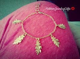 Gold Oak Leaves Bracelet Leaves Charm Bracelet Woodland Bracelet Gold Le... - $48.00